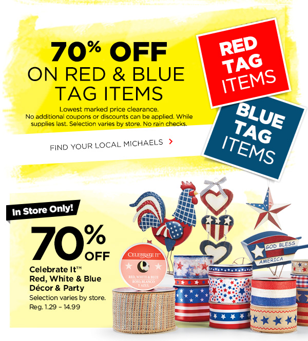 70% off on red & blue tag items
