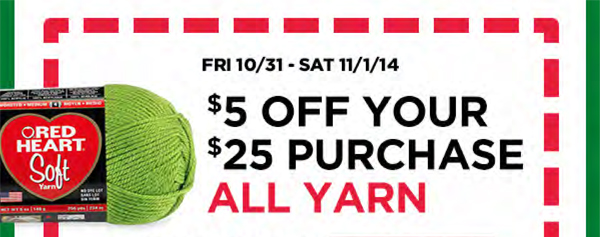 $5 off All Yarn with every $25 you spend, buy more, save more.