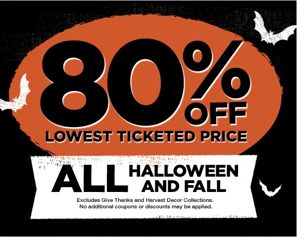80% off - all halloween and fall from michaels
